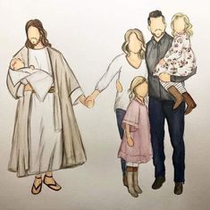 for families who have been through the heartache of losing a child, representing child and infant loss awareness Family Illustration, People Illustration, Family Portrait Painting, Family Portraits, Lds Art, Bible Art, Catholic Art, Religious Art, Christian Drawings