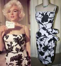 "Marilyn Monroe Black White Wrap Tiki Dress worn in ""Something's Got To Give"" 1962"