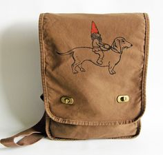 Think I need :) Gnome and Dachshund Messenger Bag--Field Bag-- Screen Printed Cotton Canvas- Chocolate Brown-Fall Fashion. $27.00, via Etsy.