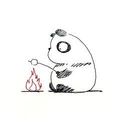 【一日一大熊猫】2016.3.14 スヌーピーがコミックでやってたんだけど、 マシュマロは焼いて食べると美味しいよ。 #パンダ #マシュマロ