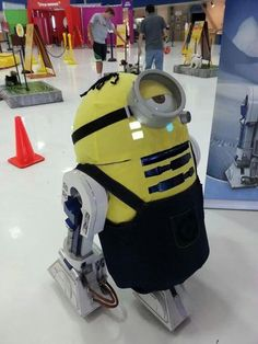 When R2-D2 isn't busy saving the day, he likes playing dress up. I'm not sure how many outfits he has in his closet, but he looks good as a minion from Despicable Me. This could be a huge spoiler for Episode VII!