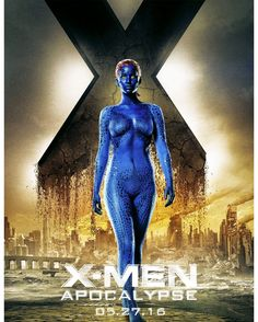 #Mystique can psionically shift the atoms of her body to duplicate any humanoid of either sex wearing any kind of clothing. She can precisely duplicate another persons retina pattern finger palm and skin-pore patterns and vocal cords. She can increase her volume but not her mass. #XMen #Apocalypse #GenesisCinemas #ComingSoon