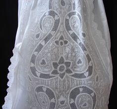 Maria Niforos - Fine Antique Lace, Linens & Textiles : Antique Christening Gowns & Children's Items # CI-86 Fine 19th C. Chikan Whitework Christening Gown