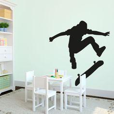 Skateboarder - Vinyl Wall Art Decal for Homes, Kids Rooms, Nurseries, Preschools, Kindergartens, Elementary Schools, Middle Schools, High Schools, Universities, Colleges