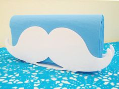 White mustache napkin holder  - awesome idea for a baby boy's shower decoration, $22.00