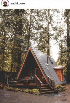 Architecture – Enjoy the Great Outdoors! Tiny House Cabin, Tiny House Design, Cabin Homes, A Frame Cabin, A Frame House, Cabins In The Woods, House In The Woods, Forest House, Tiny House Movement
