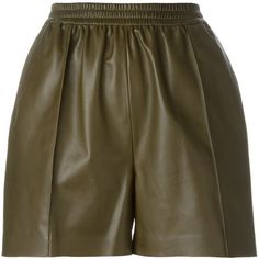 Givenchy high waisted shorts (56,965 MKD) ❤ liked on Polyvore featuring shorts, pants, bottoms, skirts, green, stretch waist shorts, high-waisted shorts, high waisted stretch shorts, elastic waistband shorts and pocket shorts