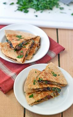 Mushroom and Sundried Tomato Quesadillas with Mozzarella. Ready in 15 minutes and packed with Italian flavor.