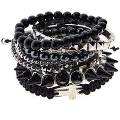 Spike Studded Mish Mash Bangles ($18) ❤ liked on Polyvore featuring jewelry, bracelets, accessories, pulseiras, acessorios, black studded bracelet, stretchy bracelet, black bracelet, spike bracelet and stretch bracelet