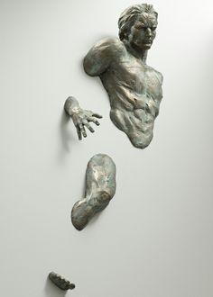 realistische Wand Skulpturen seriös gesicht
