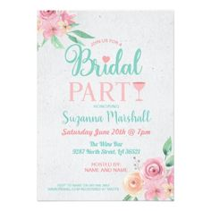 Bridal Party Invite Pink Cocktails Bachelorette - floral bridal shower gifts wedding bride party