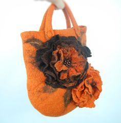 Felted bag felt bag felted wool purse nuno felt orange von AnnaWegg