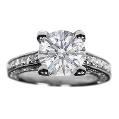 Vintage Pave Style Round Diamond Cathedral Engagement Ring 1.19 tcw. In 14K White Gold