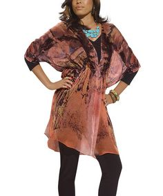 Take a look at this Apricot & Black Tie-Dye Tunic Set - Women & Plus by Donna on #zulily today!