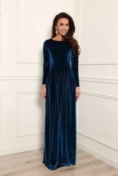 Dark Electric Velvet Maxi Elegant Dress Long Sleeves by DesirVale