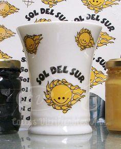 Calco Vitrificable del logo de Sol del Sur a dos colores.