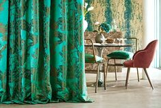 1-fabric-lucero-living-room-emerald-curtains-harlequin-style-library