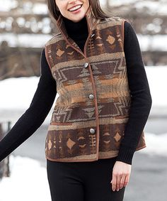 Take a look at this Brown Tribal Vest - Women on zulily today!