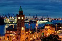 Hamburg, Landungsbrücken, Hafen, Harbor, Elbe