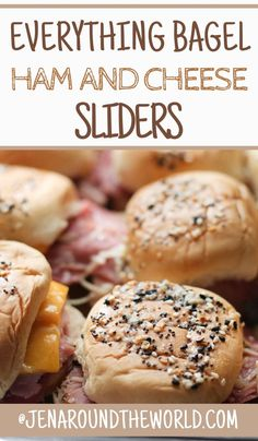 These everything bagel ham and cheese sliders are a great way to use up leftover ham. Serve them on sweet Hawaiian rolls and top with everything bagel seasoning. Hawaiian Roll Sliders, Hawaiian Rolls, Cabot Cheese, Ham Sliders, Slider Buns, Appetizers For A Crowd, Cheese Rolling, Leftover Ham, Everything Bagel