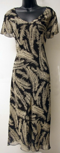 "$24.00 - Size: 14 - ""Jones New York"" - 100% Silk - Chocolate & Cream - Dress"