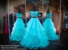 Aqua Sweetheart Ruffle Off the Shoulder Two Piece Prom Dress Turquoise Homecoming Dresses, Aqua Prom Dress, Turquoise Dress, Pageant Dresses, Quinceanera Dresses, Aqua Dresses, Quinceanera Ideas, Sweet 16 Dresses, Sexy Dresses