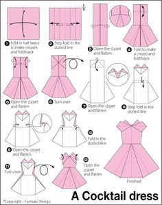 Origami instructions, how to make a paper cocktail dress. Origami instructions, how to make a paper cocktail dress. Origami Design, Origami Tutorial, Instruções Origami, Origami Dress, Money Origami, Origami Ball, Origami Folding, Paper Folding, Origami Cards