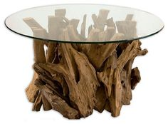 Driftwood Glass-Top Cocktail Table - traditional - coffee tables - Fratantoni Lifestyles
