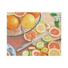 award winning color pencil drawing of orange on canvas