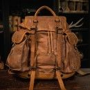 Vintage Rucksack - Waxed Canvas & Leather Army Backpack: Yosemite, Tan