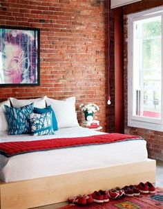 Dormitorio con paredes de ladrillo en pinterest paredes for Dormitorio ladrillo visto