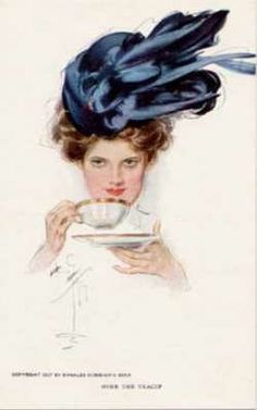 """Over the Teacup"" Harrison Fisher illustration"