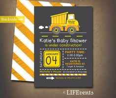 Dump Truck Construction Shower Invitation Chalkboard by LIFEvents