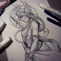 //Freya/shades// #sketch #tattoosketch #customsketch #lines #linework #mythology #nordic #goddess #freya #nightshift #nightowlin #katiberinkey