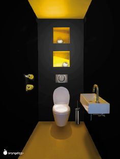 Black toilet a decorative color for the toilet - Black & Yellow. Yellow to wake black toilet too dark - Modern Minimalist Bedroom, Minimalist Interior, Minimalist Decor, Minimalist Kitchen, Minimalist Bathroom, Minimalist Living, Minimalist Jewelry, Modern Bathroom, Small Bathroom