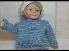 Вяжем плюшевую кофту для новорожденных регланом с ростком спицами. Кофта для детей спицами. - YouTube