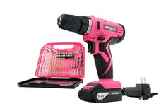 Apollo Precision Tools DT4937P Cordless Drill with 30-Piece Accessory Set, 10.8V, Pink. 2 dollars from this purchase is being donated to The Breast Cancer Research Foundation. 10.8V Cordless Drill with 1500mAh Lithium-Ion Battery. Includes 30 Piece Drill ad Screwdriver Bit Accessory Set. Convenient compact storage case. Limited Lifetime Warranty on drill bits. 1 Year Limited Warranty on Power Tools.