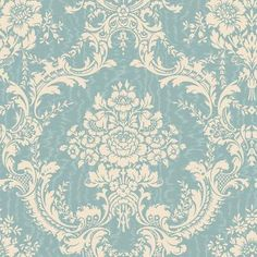 The Wallpaper Company | 20.5 In. W Blue and Cream Mid-Scale Damask on a Moire Background Wallpaper | Home Depot Canada