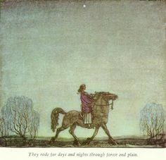 """They rode for days and nights through forest and plain."", illustration from ""The Ring"" tale, ""Swedish fairy tales"", by Elsa Olenius, Holger Lundbergh (trad), 1974 ; illustration by John Bauer (originally published in ""Ringen"" tale from ""Bland Tomtar och Troll"" 1914.)"