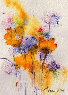 Field Flowers Greeting Card by Anne Duke - Watercolors - Art Watercolor Artists, Watercolor Cards, Abstract Watercolor, Watercolor Flowers, Watercolor Paintings, Watercolors, Watercolor Techniques, Art Aquarelle, Abstract Flowers