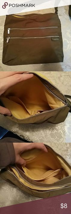 Baggallini Double Zipper Crossbody Cute olive green color, gently used, small stain on inside as pictured, as reflected in the price Baggallini Bags Crossbody Bags