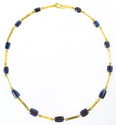 Gold necklace with sapphire beads.Imperial Roman jewelry, second half of the 2nd c. CE, from the Grottarosa tomb, Rome.