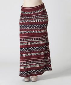 Look at this #zulilyfind! BOLD & BEAUTIFUL Maroon & Black Tribal Maxi Skirt - Plus by BOLD & BEAUTIFUL #zulilyfinds
