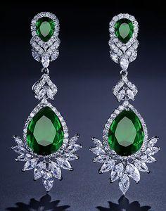 Royal Green, Diamond Earrings, Drop Earrings, Baroque, Topaz, Chandelier, Modern, Jewelry, Art