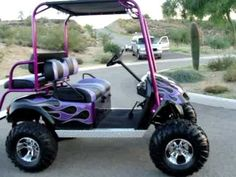 Beautiful Custom Lifted Gas Ez-go Golf Cart, Flame Paint Job, Roll Cage, 4 Seat, Very Fast Lifted Golf Carts, Lifted Trucks, Normal Cars, Custom Golf Carts, Golf Cart Accessories, Golf Club Grips, Transportation Technology, Golf Putting Tips, Used Golf Clubs