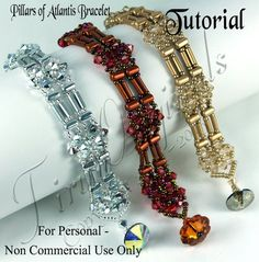 TUTORIAL - PIllars of Atlantis Bracelet Color Kit - Instructions Included - Beadweaving Tutorial Pattern Instructions Cute Bracelets, Seed Bead Bracelets, Jewelry Patterns, Bracelet Patterns, Vintage Jewelry Crafts, Handmade Jewelry, Bugle Beads, Seed Beads, Crystal Beads