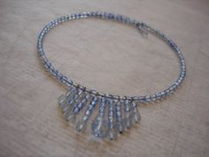 Two-tone Blue Memory Wire Necklace by elizabethswihart on Etsy