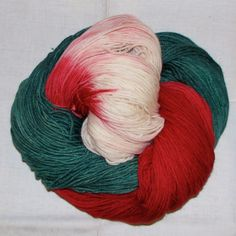 Hand dyed superwash sock yarn CANDY CANE by vieuxrouet on Etsy