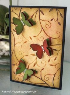 Nice fall colors. Triple Butterfly Card by Shirley Fyfe.... 3 butterflies, 3 layers each