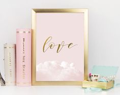 Love Blush Pink Pale Pink Gold Poster by UrbanEpiphanyPrints